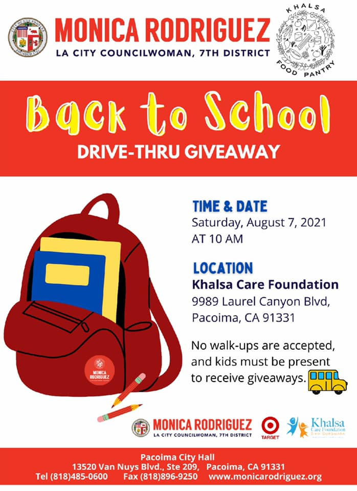 Drive-Thru Back to School Giveaway Event on Saturday