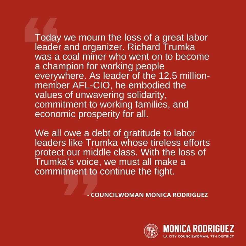 My Statement on the Passing of Richard Trumka