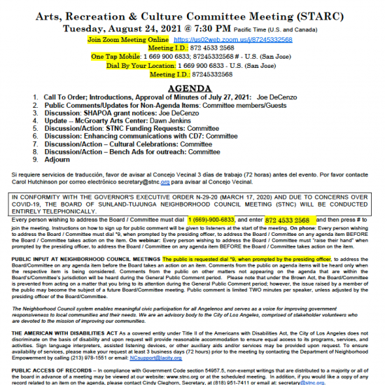 Recreation & Culture Committee Meeting (STARC)