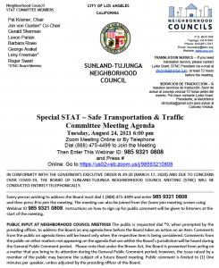 Traffic & Transportation in Sunland-Tujunga Meeting