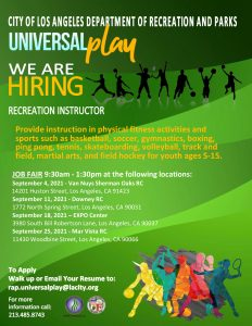 The Department of Recreation and Parks is Hiring