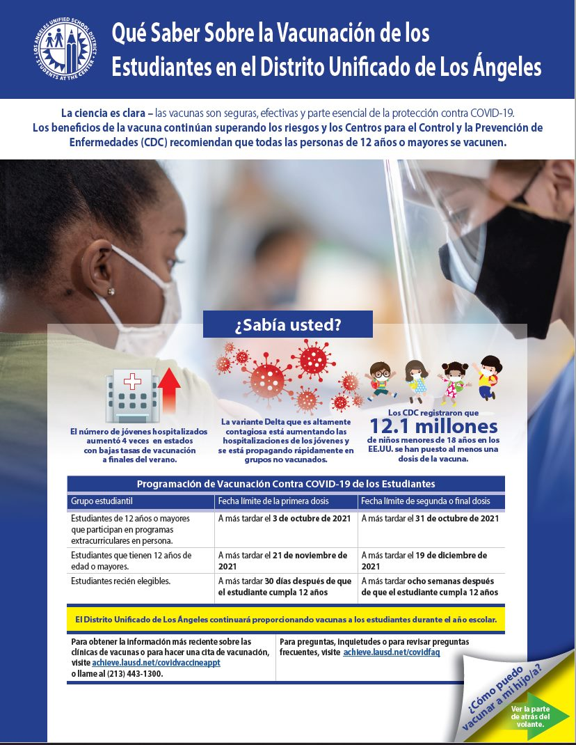 Student Vaccinations Los Angeles Unified School District